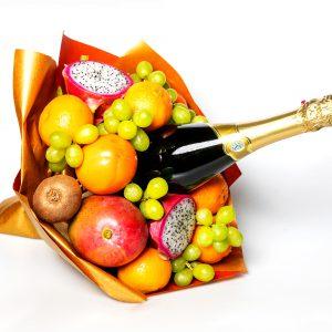 Weihnachten, Neu Jahr, Weihnachtsgeschenk, Geschenkidee, Sekt, Geschenk, Obststrauß