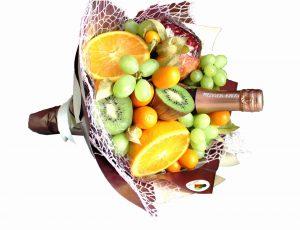 Obststrauß, Muttertag, Frauentag,, Valentinstag, Obst, Sekt, Geschenkidee, für Mutter, Mama