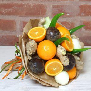 Gemüsestrauß, Rote beete, Chili, Geschenkidee, Obststrauß, Rezept, Suppe, Orangen, Ingwer