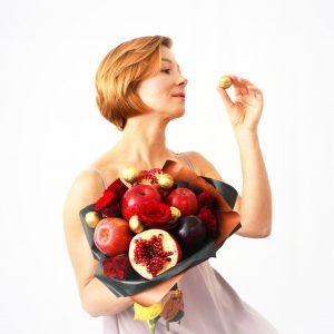 ROsen, Strauß, Obststrauß, Granatapfel, Rosen, Muttertagsgeschenk, Muttertag