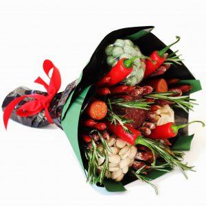 Wurst, Chili, Rosmarin, Salami, Männergeschenk, Strauß. leckere Strauß, Männer-Strauß