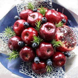 Schneewitschen, Weihnachtsgeschenk, Obststrauß, Nikolaus Apfel